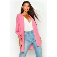 Womens Woven Cold Shoulder Kimono - pink - 8, Pink