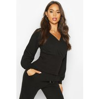 Womens Wrap Front Fitted Sweat - black - 12, Black