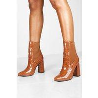 Womens Croc Pointed Toe Block Heel Sock Boots - brown - 3, Brown