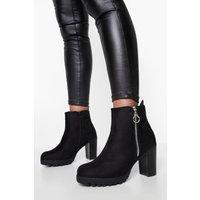 Womens O Ring Pull Zip Side Block Heel Shoe Boots - black - 8, Black