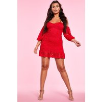 Womens Bardot Ruched Lace Mini Dress - red - 12, Red