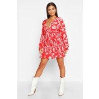 Womens Floral Print Shirred Skirt Mini Dress - 10, Red