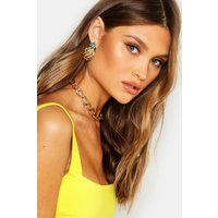 Womens Diamante Pineapple Stud Earrings - yellow - One Size, Yellow