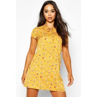 Womens Woven Floral Keyhole Shift Dress - yellow - 14, Yellow