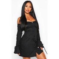 Womens Off The Shoulder Ruched Sleeve Blazer Dress - black - 12, Black