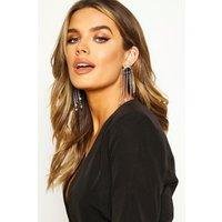 Womens Star & Moon Diamante Statement Earrings - grey - One Size, Grey