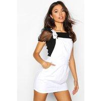 Womens Denim Dungaree Pinafore Dress - white - 12, White
