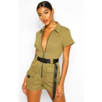 Womens Utility Belted Playsuit - green - 10, Green