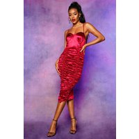 Womens Stretch Satin Lace Up Ruched Midi Dress - red - 6, Red