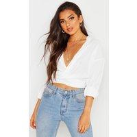 Womens Woven Twist Front Detail Blouse - white - 14, White