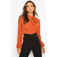 Womens Pussybow Button Through Volume Sleeve Blouse - orange - 10, Orange