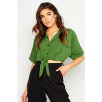 Womens Utility Pocket Tie Front Shirt - green - 14, Green