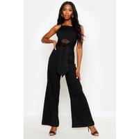 Womens Ribbed Mesh Mix Tie Front Jumpsuit - black - 8, Black