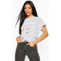 Womens Snake Lips Foil Print T-Shirt - grey - S, Grey