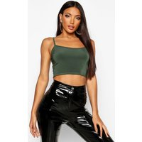 Womens Double Layer Cami Crop Top - green - 8, Green