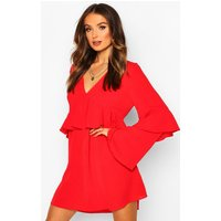 Womens Frill Detail Smock Dress - red - 8, Red