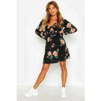 Womens Floral Print Frill Detail Smock Dress - black - 10, Black