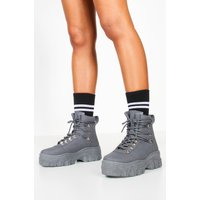 Womens Lace Up Hiker Trainers - grey - 7, Grey