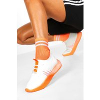 Womens Neon Sole Knitted Sports Trainers - orange - 3, Orange