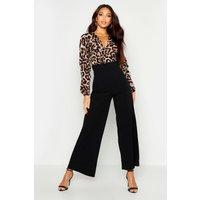 Womens Wrap Front Leopard Print Wide Leg Jumpsuit - Black - 10, Black