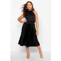 Womens Pleated Skirt Satin Midi Skater Dress - Black - 6, Black