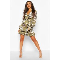 Womens Floral Print Plunge Ribbon Tie Mini Dress - green - 12, Green