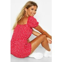 Womens Square Neck Polka Dot Woven Playsuit - red - 10, Red
