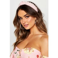 Womens Premium Pearl Embellished Knot Headband - pink - One Size, Pink