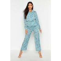 Womens Chain Print Wide Leg Trouser - blue - 12, Blue