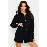 Womens Button Through Shirt Utility Playsuit - black - 14, Black