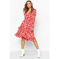 Womens Woven Floral Wrap Midi Tea Dress - red - 16, Red