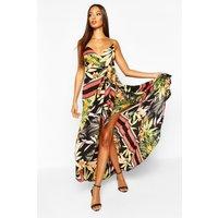 Womens Tropical Print Hanky Hem Maxi Dress - black - 8, Black