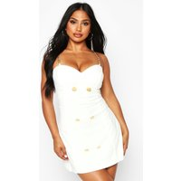 Womens Double Breasted Chain Strap Blazer Dress - white - 16, White