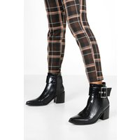 Womens Croc Buckle Detail Pointed Boots - black - 8, Black