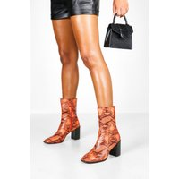Womens Orange Snake Block Heel Sock Boots - 6, Orange