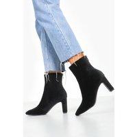 Womens Cord Low Heel Shoe Boots - black - 7, Black