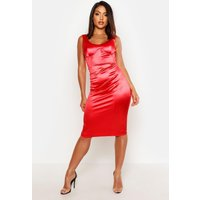 Womens Stretch Satin Cupped Midi Dress - red - 10, Red