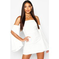 Womens Off The Shoulder Flared Sleeve Mini Dress - white - 14, White