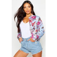 Womens Oriental Floral Print Bomber Jacket - blue - 12, Blue