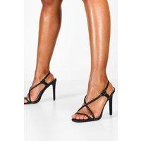 Womens Asymmetric Strappy Heel Sandals - black - 3, Black