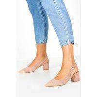 Womens Contrast Toe Block Heel Ballets - Beige - 4, Beige