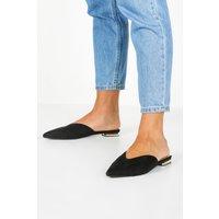 Womens Metallic Heel Slip On Mule Flats - black - 7, Black