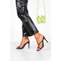 Womens Mid Heel Strappy Mules - black - 6, Black