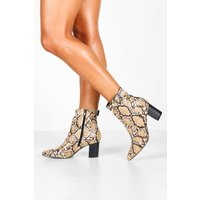 Womens Snake Belt Detail Pointed Shoe Boots - beige - 4, Beige