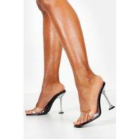 Womens Interest Heel Peeptoe Clear Mules - black - 7, Black