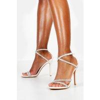 Womens Embellished Multi Strap Heel Sandals - white - 8, White