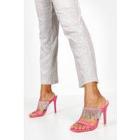 Womens Embellished Fringe Stiletto Mules - Pink - 3, Pink