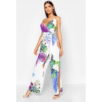 Womens Tropical Leaf Print Wrap Front Thigh Split Jumpsuit - white - 8, White