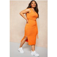 Womens Recycled Rib Tie Waist Midi Dress - orange - 22, Orange