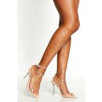 Womens Cross Clear Strap Pointed Toe Heels - Beige - 3, Beige